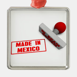 Made in Mexico Stamp or Chop on Paper Concept Metal Ornament