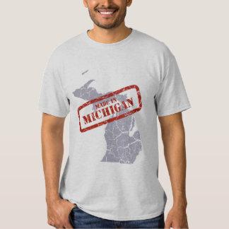 Made in Michigan Grunge Mens Grey T-shirt