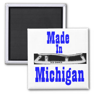 Made in Michigan Ice Dance 2 Inch Square Magnet