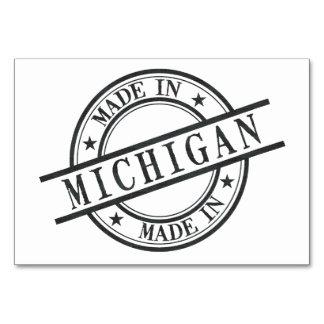 Made In Michigan Stamp Style Logo Symbol Black Card