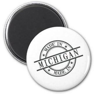 Made In Michigan Stamp Style Logo Symbol Black Magnet