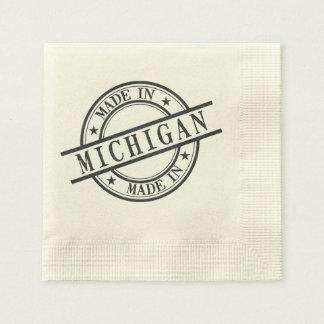 Made In Michigan Stamp Style Logo Symbol Black Napkin