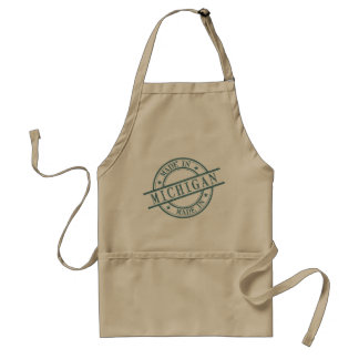 Made In Michigan Stamp Style Logo Symbol Green Adult Apron