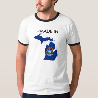 Made in Michigan State Shirt Born Raised Flag