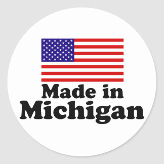 Made in Michigan Round Stickers