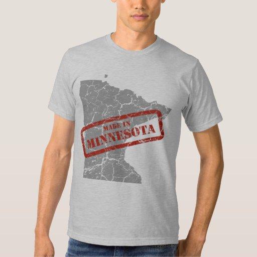 Made in Minnesota Grunge Map Mens Grey T-shirt