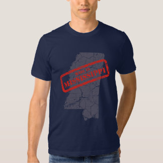 Made in Mississippi Grunge Map Mens Navy T-shirt