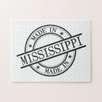 Made In Mississippi Stamp Style Logo Symbol Black Puzzles