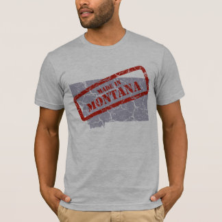 Made in Montana Grunge Map Mens Grey T-shirt