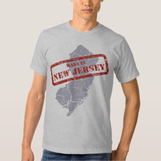 Made in New Jersey Grunge Map Mens Grey T-shirt
