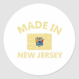 Made in NEW JERSEY United States Flag designs Classic Round Sticker