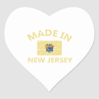 Made in NEW JERSEY United States Flag designs Heart Sticker