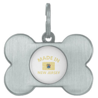 Made in NEW JERSEY United States Flag designs Pet Name Tag