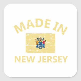 Made in NEW JERSEY United States Flag designs Square Sticker