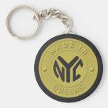 Made In New York Queens Basic Round Button Keychain