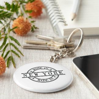 Made In New York Stamp Style Logo Symbol Black Basic Round Button Keychain