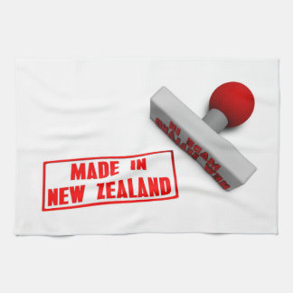 Made in New Zealand Stamp or Chop on Paper Concept Hand Towel