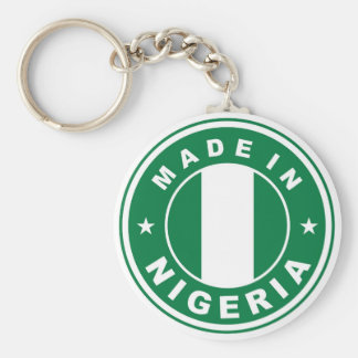 made in nigeria country flag product label round keychain