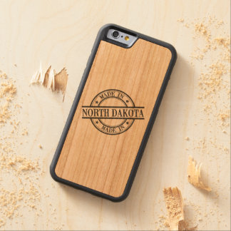 Made In North Dakota Stamp Style Logo Symbol Black Carved Cherry iPhone 6 Bumper Case