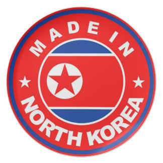 made in north korea country product label flag dinner plate