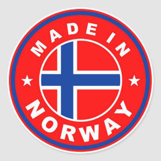 made in norway country flag product label round stickers