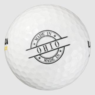 Made In Ohio Stamp Style Logo Symbol Black Pack Of Golf Balls