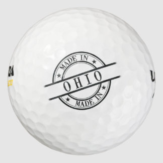 Made In Ohio Stamp Style Logo Symbol Black Golf Balls