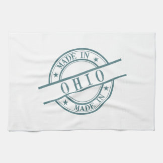 Made In Ohio Stamp Style Logo Symbol Green Kitchen Towel