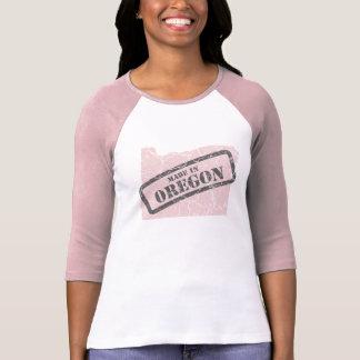 Made in Oregon Grunge Map Ladies Pink Raglan Tshirts