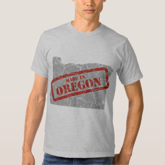 Made in Oregon Grunge Map Mens Grey T-shirt