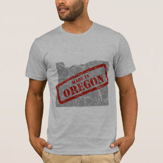 Made in Oregon Grunge Map Mens Grey T-shirt