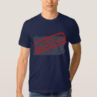 Made in Pennsylvania Grunge Mens Navy Blue T-shirt