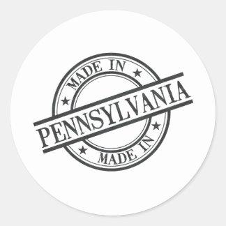 Made In Pennsylvania Stamp Style Logo Symbol Black Classic Round Sticker