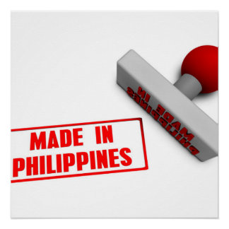 Made in Philippines Stamp or Chop on Paper Concept Poster