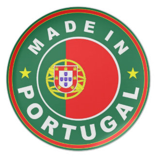 made in portugal country product label flag party plates
