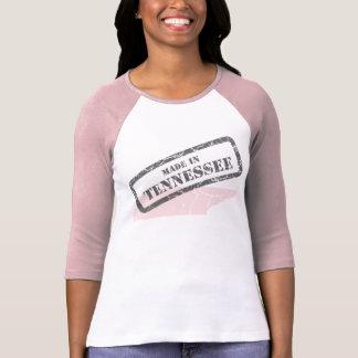 Made in Tennessee Grunge Map Ladies Pink Raglan Shirt