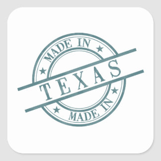 Made In Texas Stamp Style Logo Symbol Green Square Sticker