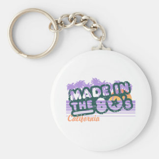 Made in the 80's basic round button keychain