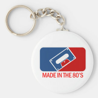 Made in the 80s basic round button keychain