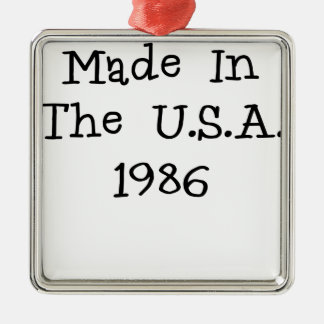 Made in the usa 1986.png square metal christmas ornament