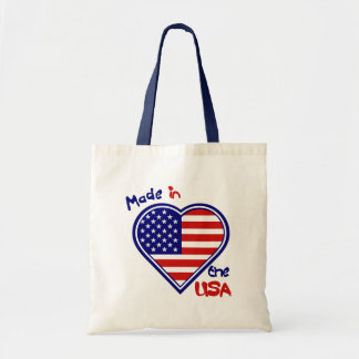 Made in the USA  Heart Flag Budget Tote Bag
