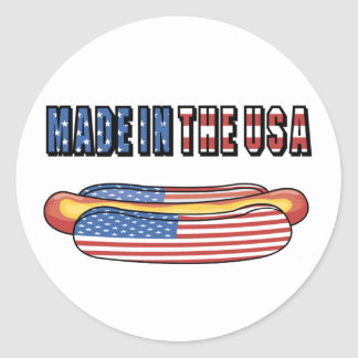 Made in the USA hotdog stickers