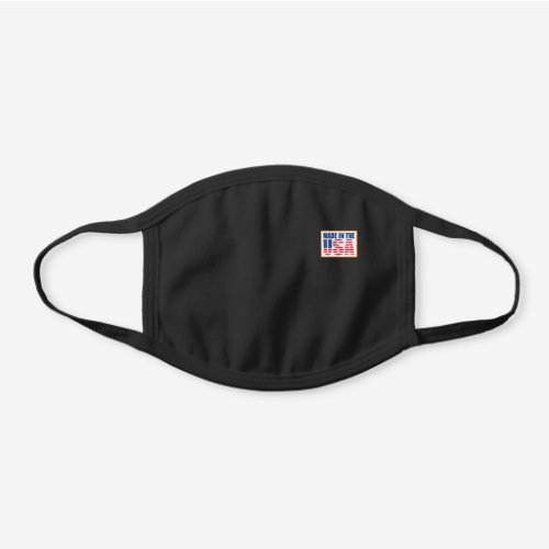 Made In The USA Label Black Cotton Face Mask