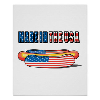 Made in the USA Patriotic Hot Dog Poster