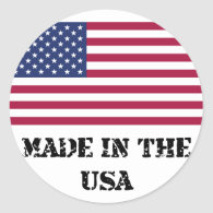 Made In The USA Round Stickers