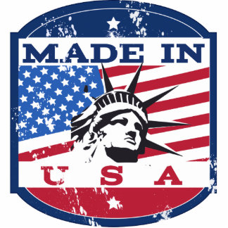 Made In USA Badge Standing Photo Sculpture