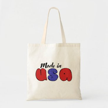 """USA Themed """"Made in USA"""" cute doode sign, patriotic Tote Bag"""