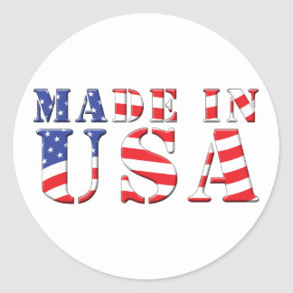 Made In USA Red White Blue Patriotic Colors Classic Round Sticker
