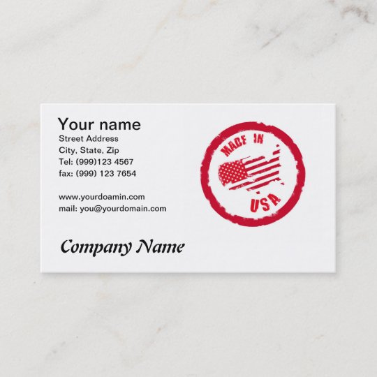 Made In Usa Rubber Stamp Design Business Card Zazzle