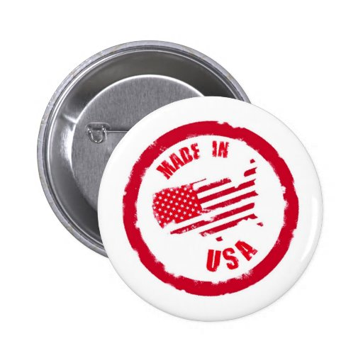 Made in USA rubber stamp design Pinback Buttons